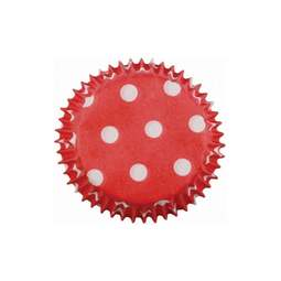 View the RED POLKA DOTS mini cupcake baking cases - pk 100 online at Cake Stuff