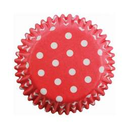 View the RED POLKA DOTS cupcake baking cases - pk 60 online at Cake Stuff