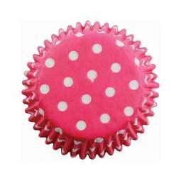 View the HOT PINK POLKA DOTS cupcake baking cases - pk 60 online at Cake Stuff