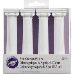 View the 5 inch white Grecian wedding cake pillars - pk 4 online at Cake Stuff