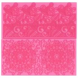 View the Filigree Lace icing impression mat 2 pc set 4 online at Cake Stuff