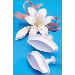 View the SMALL Lily 2 pc 60mm plunger icing cutter set online at Cake Stuff
