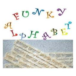 View the Funky Alphabet & Number upper case Tappit icing cutter set online at Cake Stuff