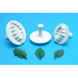 View the Holly Leaf 3 pc veined plunger icing cutter set online at Cake Stuff