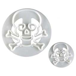 View the Skull & Crossbones 2 piece fondant icing cutter set online at Cake Stuff