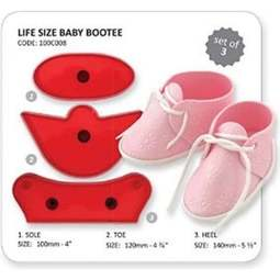 View the LIFE SIZE Baby's Bootee 3 piece icing cutter set online at Cake Stuff
