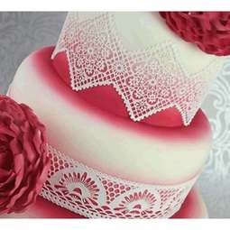 View the ART DECO LACE cake / edible lace silicone tool mat online at Cake Stuff