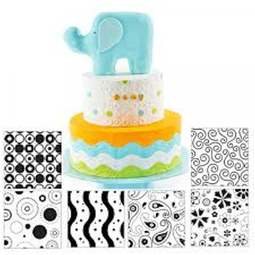 View the MODERN icing texture sheet impression mat 6 pc set online at Cake Stuff