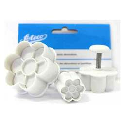 View the 6-petal Daisy Flower 3 pc plunger icing cutter veiner set online at Cake Stuff