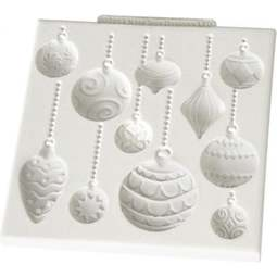 View the CHRISTMAS BAUBLES design mat silicone sugarcraft mould online at Cake Stuff