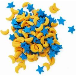 View the MOONS & STARS blue & yellow cupcake sprinkles 73.7g online at Cake Stuff