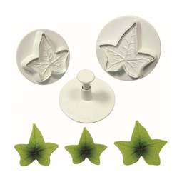 View the Ivy Leaf 3 piece plunger icing cutter set online at Cake Stuff