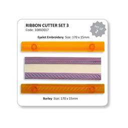 View the Ribbon Cutter set 3 - barley & eyelets icing cutters online at Cake Stuff