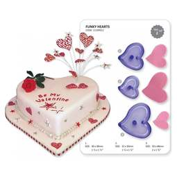 View the Funky Hearts 3 pc fondant icing cutter set online at Cake Stuff