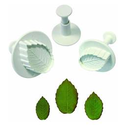 View the XL Rose Leaf 3 pc plunger icing cutter set online at Cake Stuff