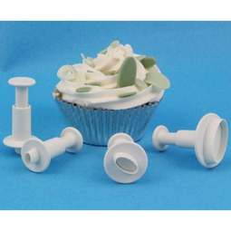 View the Mini Oval 4 piece plunger icing cutter set online at Cake Stuff