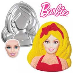View the **CLEARANCE** BARBIE cake tin baking pan with faceplate - girl / woman bust online at Cake Stuff