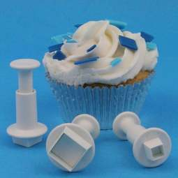 View the Mini Square 3 piece icing plunger cutter set online at Cake Stuff