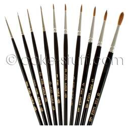 View the FULL SET all 10 artists' pure sable brushes online at Cake Stuff