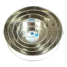 "View the set of 4: 6"" / 8"" / 10"" / 12"" round professional cake tins online at Cake Stuff"