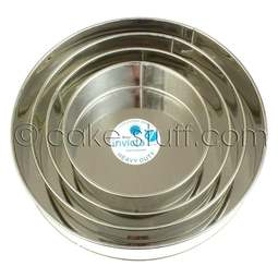 """View the set of 4: 8"""" / 10"""" / 12"""" / 14"""" round professional cake tins online at Cake Stuff"""