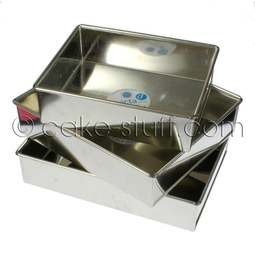 View the set of all 3 oblong rectangular slab professional cake tins online at Cake Stuff