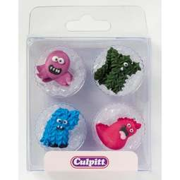 View the pk 12 MONSTERS edible icing pipings cake cupcake decorations online at Cake Stuff
