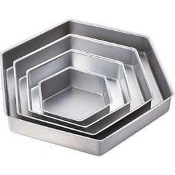"View the set of 4: 6"" / 9"" / 12"" / 15"" (2"" deep) hexagon cake tins / pans online at Cake Stuff"