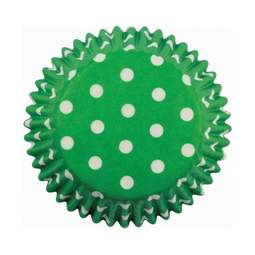 View the GREEN POLKA DOTS cupcake baking cases - pk 60 online at Cake Stuff
