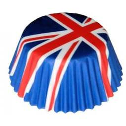 View the UNION JACK FLAG mini cupcake baking cases pk 100 online at Cake Stuff