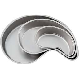 "View the set of 3: 9"" / 12¾"" / 17"" Paisley teardrop cake tins / pans online at Cake Stuff"