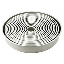 View the FULL SET all 14 professional round aluminium cake tins pans online at Cake Stuff