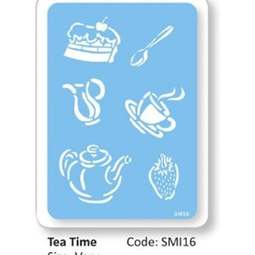 View the TEA TIME large design icing stencil online at Cake Stuff