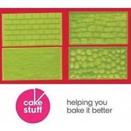 FMM Impression Mat Set 1 Tree Bark Brick Wall Icing Embossing Fondant Sugarcraft