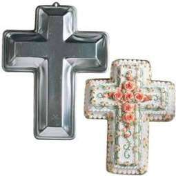 View the Cross shape aluminium cake tin / pan online at Cake Stuff