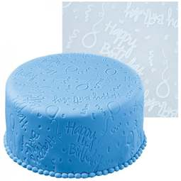 View the **CLEARANCE** HAPPY BIRTHDAY textured imprint embossing rolling mat online at Cake Stuff