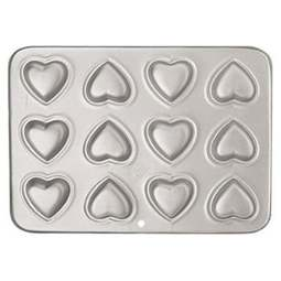 View the 12 cavity Petite Heart cake baking pan online at Cake Stuff