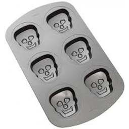 View the 6 cavity Hallowe'en Skull mini cake baking pan mould online at Cake Stuff