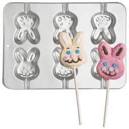 View the 6 cavity Bunny Rabbit cookie & cake pop baking pan online at Cake Stuff