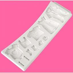 View the Baby Clothes Washing Line 11 pc silicone sugarcraft mould set online at Cake Stuff