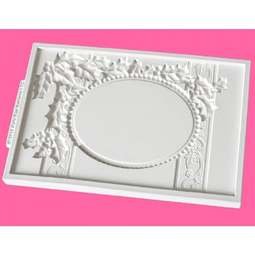 View the Vintage Christmas Plaque - OVAL - silicone mat sugarcraft mould online at Cake Stuff