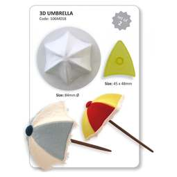 View the 3D Umbrella / Beach Parasol 2 piece icing cutter & former set online at Cake Stuff