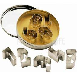 View the NUMBERS / NUMERALS 9 pc metal icing & cookie cutter set online at Cake Stuff