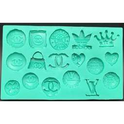 View the 17 DESIGNER BRAND LOGO silicone fondant & gumpaste mould online at Cake Stuff