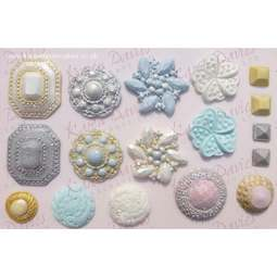 View the 10 pc VINTAGE BROOCH silicone icing mould set online at Cake Stuff