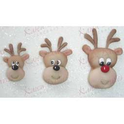 View the 3 REINDEER FACES / HEADS silicone icing mould online at Cake Stuff