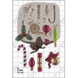 View the 10 Xmas Mini Decorations silicone icing mould online at Cake Stuff
