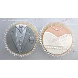 View the BRIDE & GROOM silicone cupcake top icing mould set online at Cake Stuff