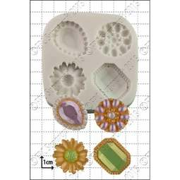 View the Jewelled Brooches silicone icing mould set online at Cake Stuff