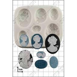 View the 7 Cameo Ladies silicone icing mould online at Cake Stuff